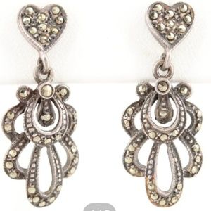 Art Deco Sterling Silver Dangle Marcasite Earrings